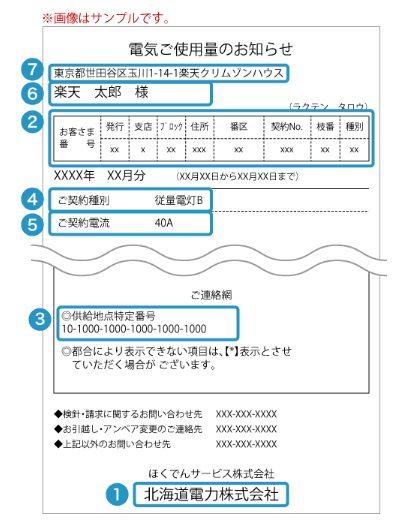 北海道電力検針票のサンプル
