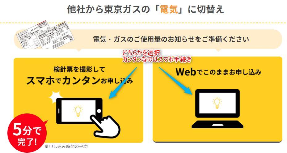 東京ガスの電気申込手順